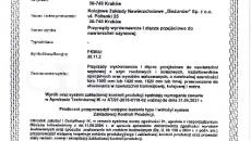 Certyfikat ZKP Przyrządy wyrównawcze i złącza przejściowe